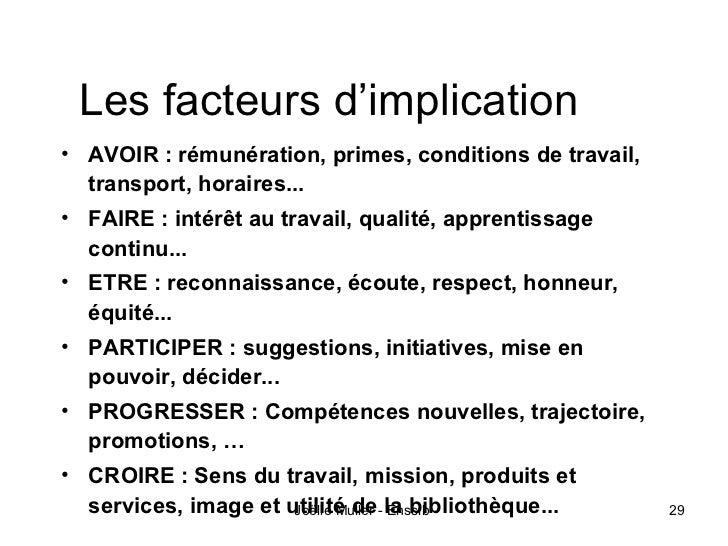 Les facteurs d'implication• AVOIR : rémunération, primes, conditions de travail,  transport, horaires...• FAIRE : intérêt ...