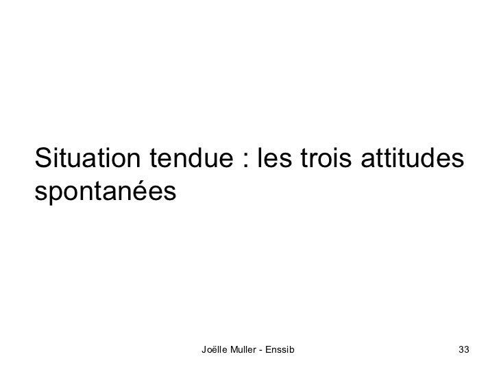 Situation tendue : les trois attitudesspontanées              Joëlle Muller - Enssib   33