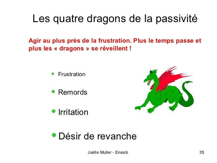 Les quatre dragons de la passivitéAgir au plus près de la frustration. Plus le temps passe etplus les « dragons » se révei...
