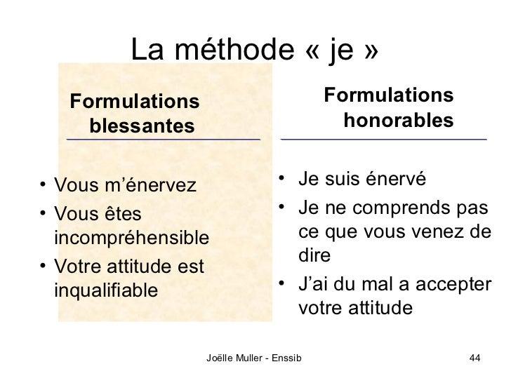 La méthode « je »   Formulations                             Formulations     blessantes                               hon...