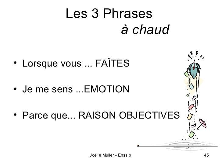 Les 3 Phrases                   à chaud• Lorsque vous ... FAÎTES• Je me sens ...EMOTION• Parce que... RAISON OBJECTIVES   ...