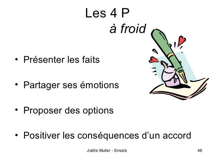 Les 4 P                     à froid• Présenter les faits• Partager ses émotions• Proposer des options• Positiver les consé...