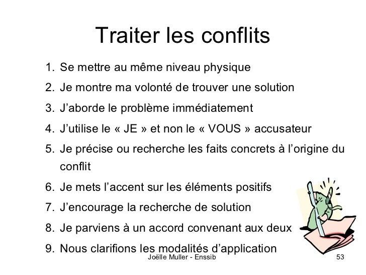 Traiter les conflits1. Se mettre au même niveau physique2. Je montre ma volonté de trouver une solution3. J'aborde le prob...