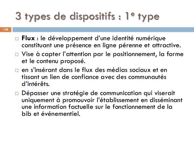 3 types de dispositifs : 1e type  Flux : le développement d'une identité numérique constituant une présence en ligne pére...