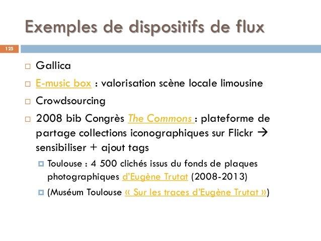 Exemples de dispositifs de flux  Gallica  E-music box : valorisation scène locale limousine  Crowdsourcing  2008 bib C...
