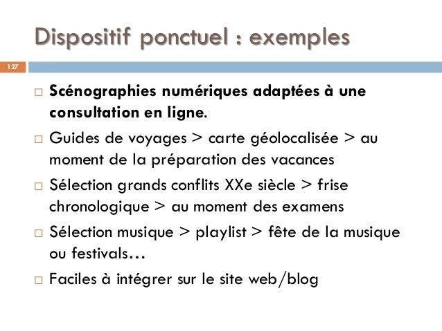 Dispositif ponctuel : exemples  Scénographies numériques adaptées à une consultation en ligne.  Guides de voyages > cart...