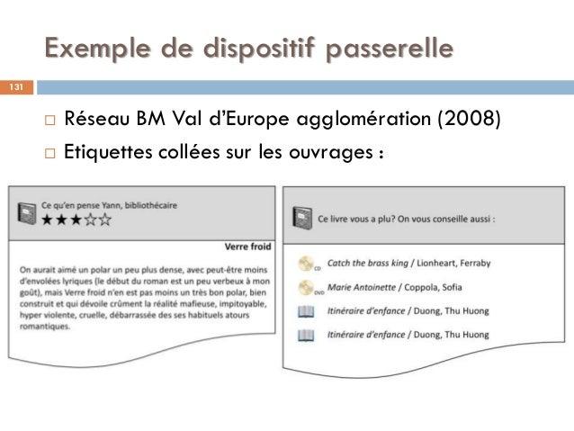 Exemple de dispositif passerelle  Réseau BM Val d'Europe agglomération (2008)  Etiquettes collées sur les ouvrages : 131
