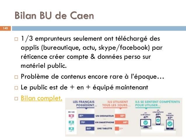 Bilan BU de Caen 142  1/3 emprunteurs seulement ont téléchargé des applis (bureautique, actu, skype/facebook) par réticen...