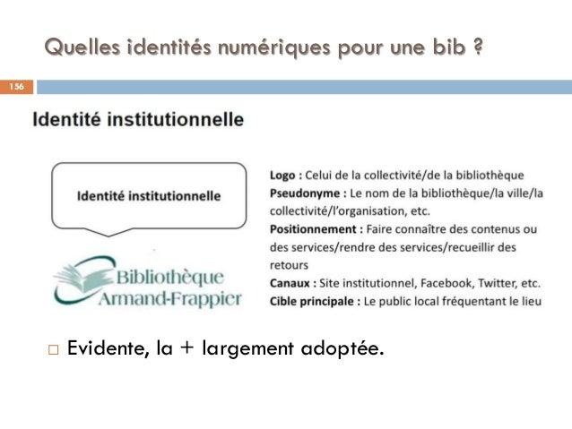Quelles identités numériques pour une bib ?  Evidente, la + largement adoptée. 156