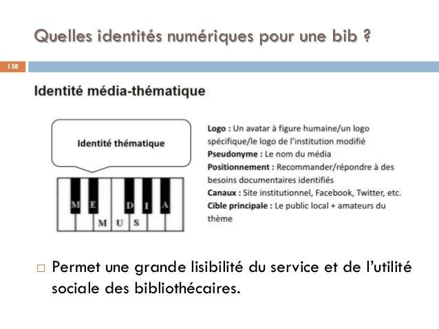 Quelles identités numériques pour une bib ?  Permet une grande lisibilité du service et de l'utilité sociale des biblioth...