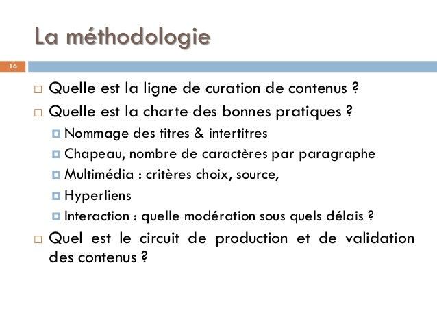 La méthodologie  Quelle est la ligne de curation de contenus ?  Quelle est la charte des bonnes pratiques ?  Nommage de...
