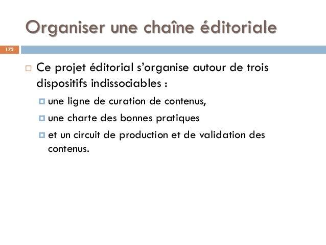 Organiser une chaîne éditoriale 172  Ce projet éditorial s'organise autour de trois dispositifs indissociables :  une li...