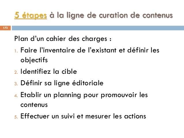 5 étapes à la ligne de curation de contenus Plan d'un cahier des charges : 1. Faire l'inventaire de l'existant et définir ...