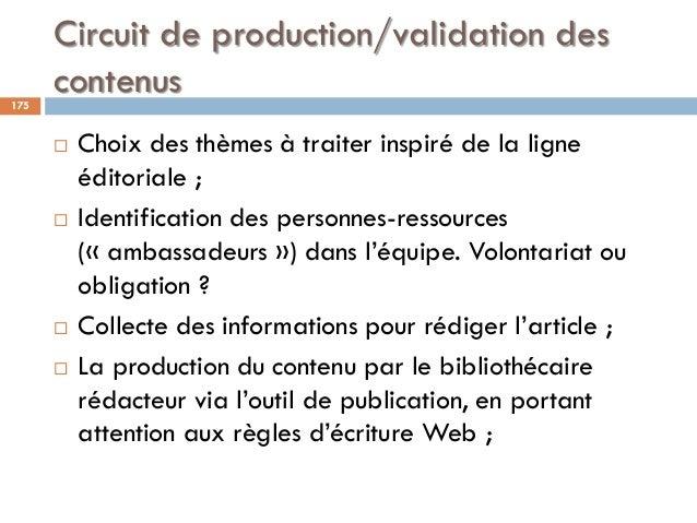 Circuit de production/validation des contenus175  Choix des thèmes à traiter inspiré de la ligne éditoriale ;  Identific...
