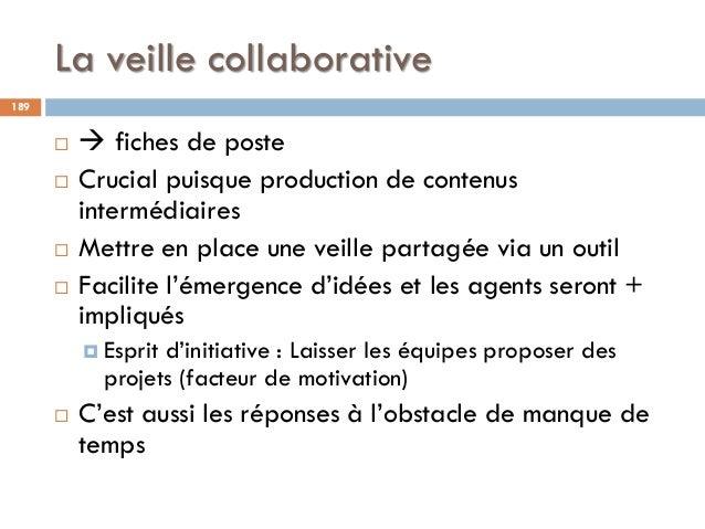 La veille collaborative 189   fiches de poste  Crucial puisque production de contenus intermédiaires  Mettre en place ...