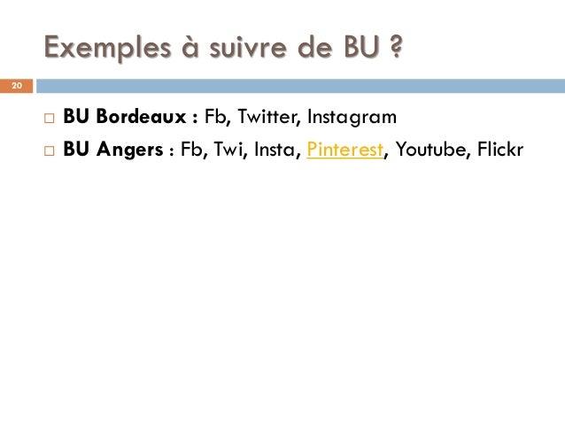 Exemples à suivre de BU ? 20  BU Bordeaux : Fb, Twitter, Instagram  BU Angers : Fb, Twi, Insta, Pinterest, Youtube, Flic...