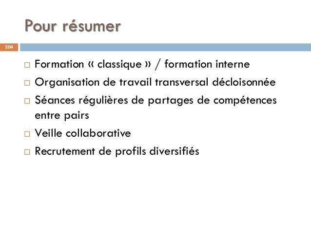 Pour résumer 204  Formation « classique » / formation interne  Organisation de travail transversal décloisonnée  Séance...