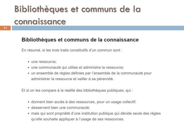 Bibliothèques et communs de la connaissance31