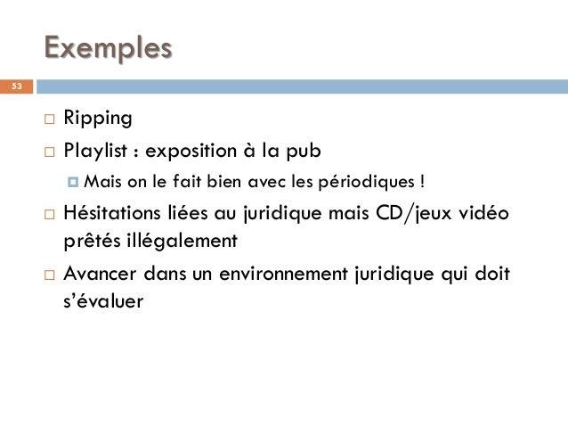 Exemples 53  Ripping  Playlist : exposition à la pub  Mais on le fait bien avec les périodiques !  Hésitations liées a...