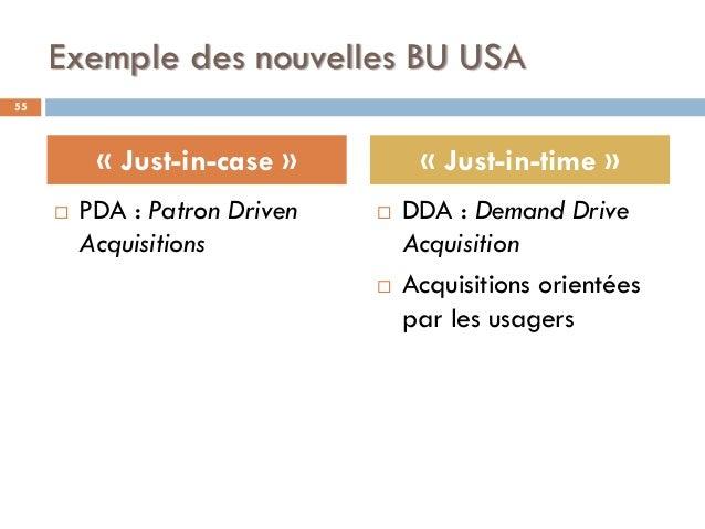 Exemple des nouvelles BU USA  PDA : Patron Driven Acquisitions  DDA : Demand Drive Acquisition  Acquisitions orientées ...