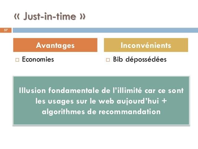« Just-in-time »  Economies  Bib dépossédées 57 Avantages Inconvénients Illusion fondamentale de l'illimité car ce sont ...