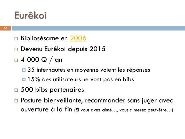 Eurêkoi 66  Bibliosésame en 2006  Devenu Eurêkoi depuis 2015  4 000 Q / an  35 internautes en moyenne voient les répon...