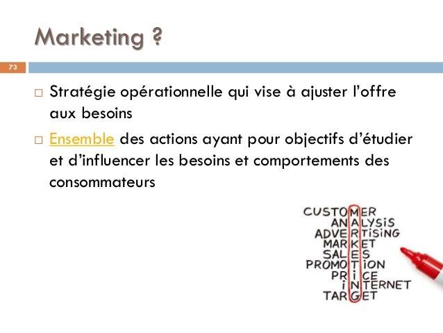 Marketing ? 73  Stratégie opérationnelle qui vise à ajuster l'offre aux besoins  Ensemble des actions ayant pour objecti...