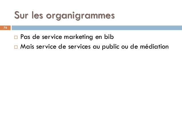 Sur les organigrammes 76  Pas de service marketing en bib  Mais service de services au public ou de médiation