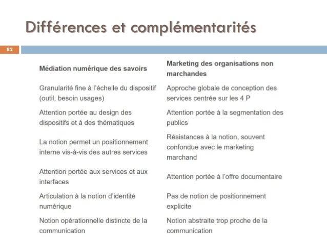 Différences et complémentarités 82