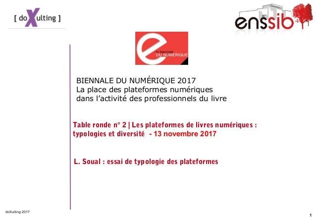 1 doXulting 2017 BIENNALE DU NUMÉRIQUE 2017 La place des plateformes numériques dans l'activité des professionnels du livr...