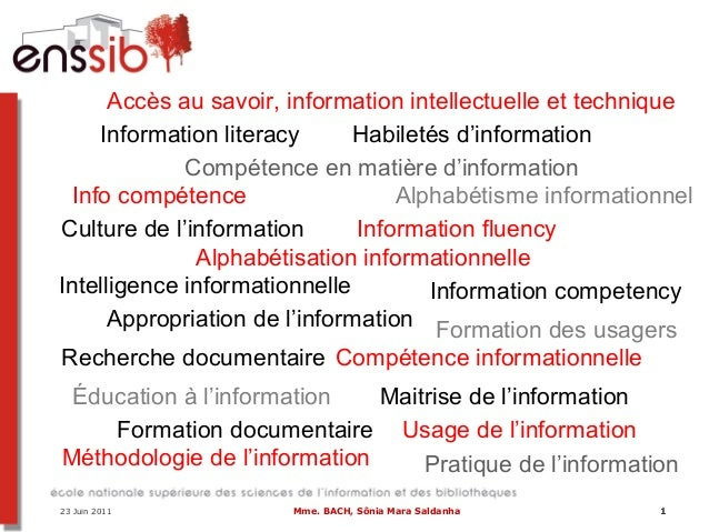 1 Alphabétisation informationnelle Alphabétisme informationnel Appropriation de l'information Compétence informationnelle ...