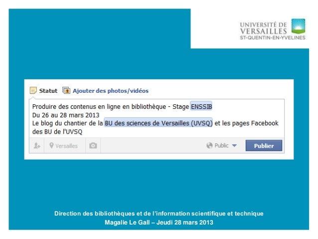 28/03/2013 -1 Produire des contenus en ligne / Stage EnssibDirection des bibliothèques et de l'information scientifique et...