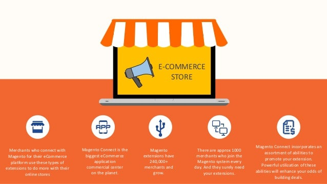 E-COMMERCE STORE Merchants who connect with Magento for their eCommerce platform use these types of extensions to do more ...