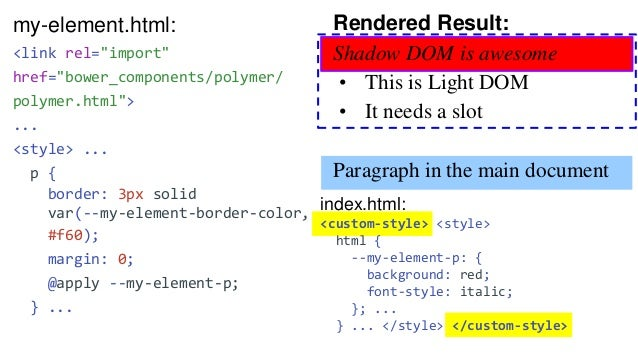 """my-button-styles.html: <link rel=""""import"""" href=""""bower_components/polymer/polymer-element.html""""> <dom-module id=""""my-button-..."""