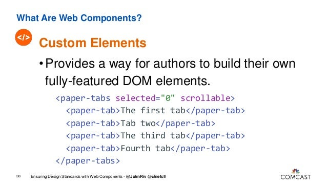 What Are Web Components? 49 Ensuring Design Standards with Web Components - @JohnRiv @chiefcll