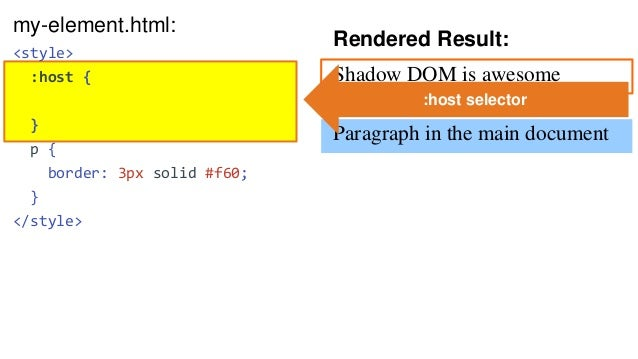 Rendered Result: Shadow DOM is awesome Paragraph in the main document my-element.html: <style> :host { outline: 3px dashed...