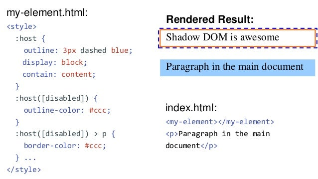 my-element.html: <template> <style> ... </style> <p>Shadow DOM is awesome</p> <slot></slot> </template> Rendered Result: S...