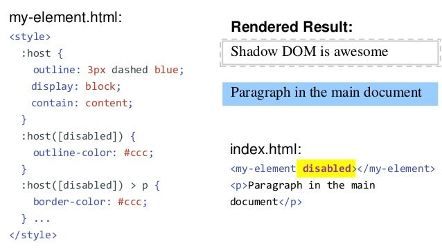 my-element.html: <template> <style> ... ::slotted(ul) { } </style> <p>Shadow DOM is awesome</p> <slot></slot> </template> ...