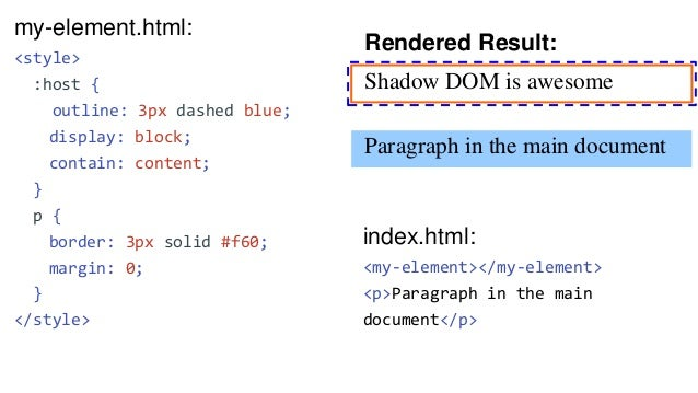 my-element.html: <template> <style> ... ::slotted(ul) { margin: 0; } ::slotted(ul > li) { color: red; } </style> <p>Shadow...