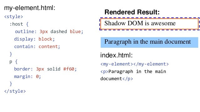 my-element.html: <template> <style> ... ::slotted(ul) { margin: 0; color: blue; } </style> <p>Shadow DOM is awesome</p> <s...