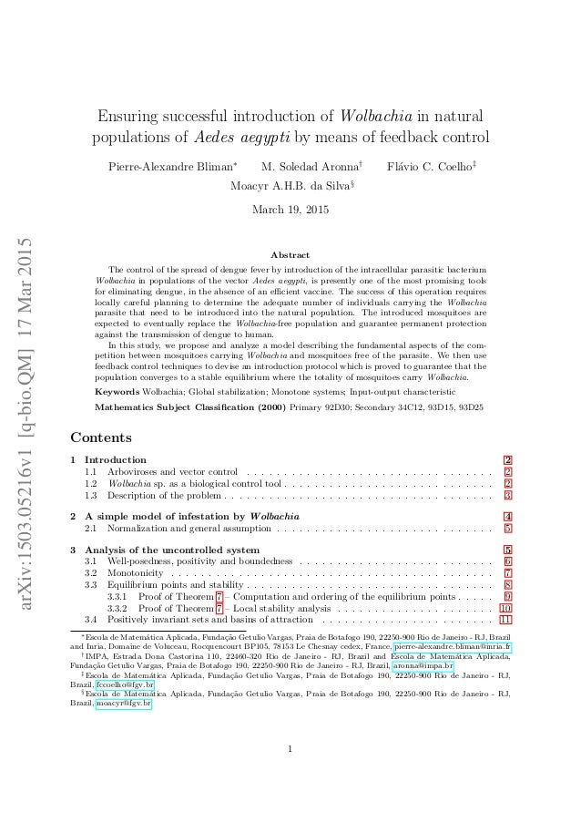 Ensuring successful introduction of Wolbachia in natural populations of Aedes aegypti by means of feedback control Pierre-...