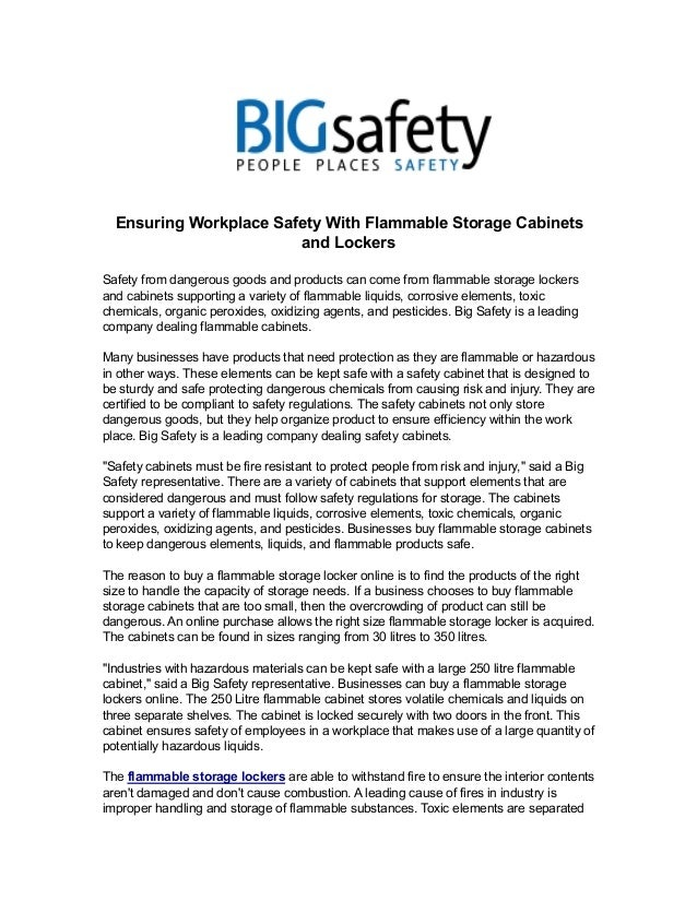 Ensuring Workplace Safety With Flammable Storage Cabinets  and Lockers  Safety from dangerous goods and products can come ...