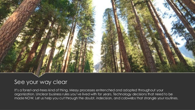 See your way clear It's a forest-and-trees kind of thing. Messy processes entrenched and adopted throughout your organizat...