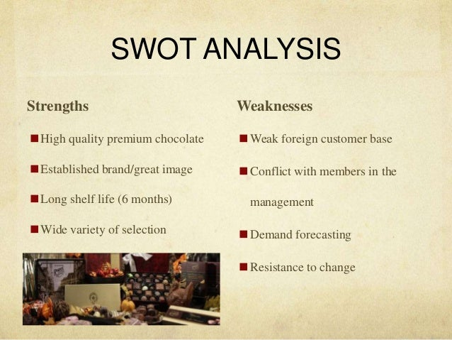 swot analysis of hershey chocolate Hershey foods company swot hershey foods company swot 2440 words dec 26th, 2012 10 pages cscf project completion report (pcr) 23 april 2012 version.