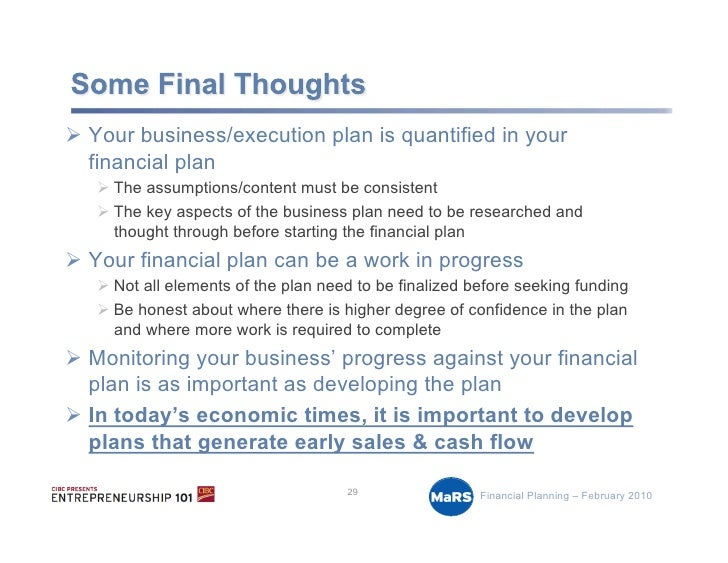 develop a business plan including financial The discipline of developing financial projections for your business plan, including an estimate of or get how to write a business plan, by mike mckeever (nolo.