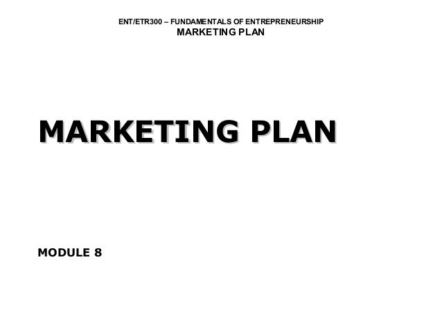 ENT/ETR300 – FUNDAMENTALS OF ENTREPRENEURSHIP                       MARKETING PLANMARKETING PLANMODULE 8