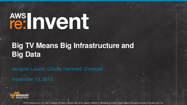 Big TV Means Big Infrastructure and Big Data Jacques Louvet, Charlie Hammell, Comcast November 13, 2013  © 2013 Amazon.com...