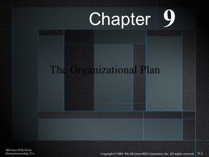 The Organizational Plan McGraw-Hill/Irwin Entrepreneurship, 7/e Copyright © 2008  The McGraw-Hill Companies, Inc. All righ...
