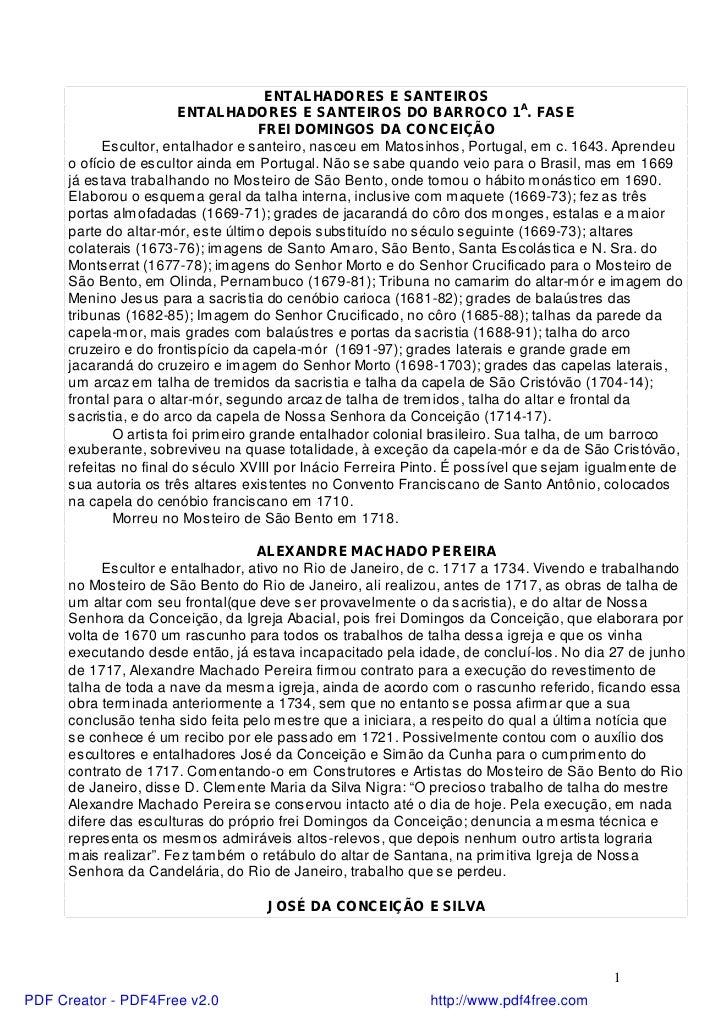 ENTALHADORES E SANTEIROS                         ENTALHADORES E SANTEIROS DO BARROCO 1A. FASE                             ...
