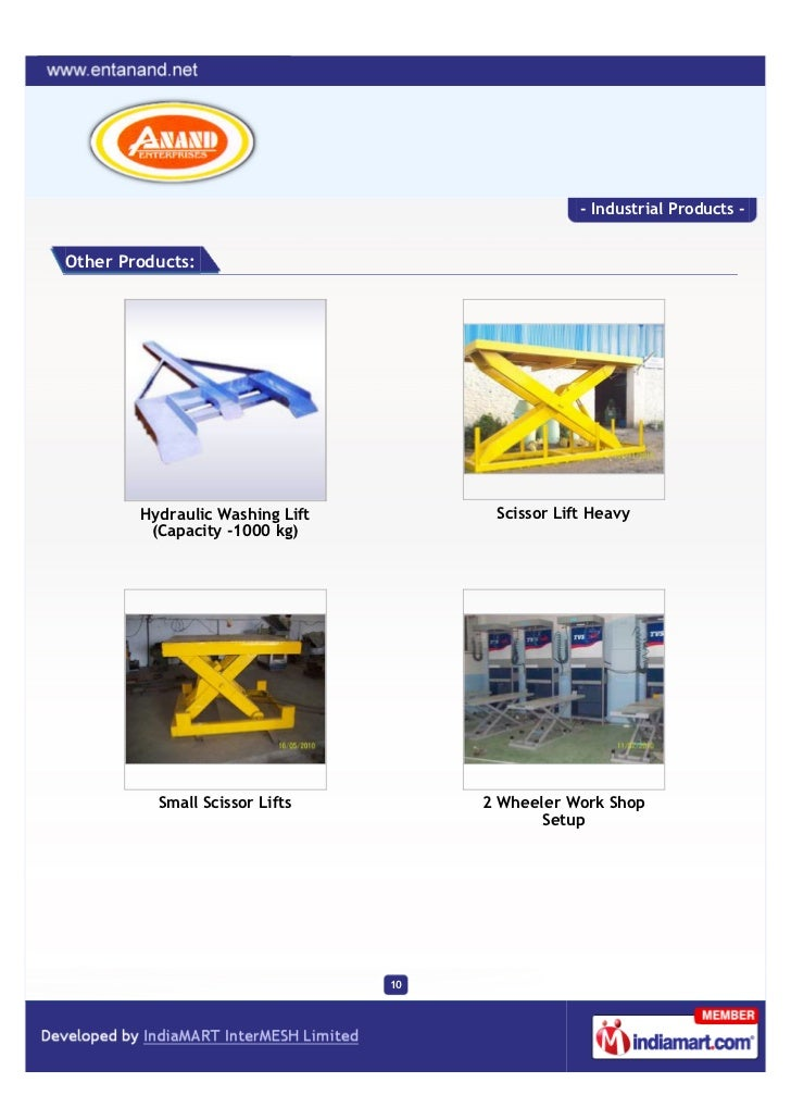 - Industrial Products -Other Products:        Hydraulic Washing Lift         Scissor Lift Heavy         (Capacity -1000 kg...